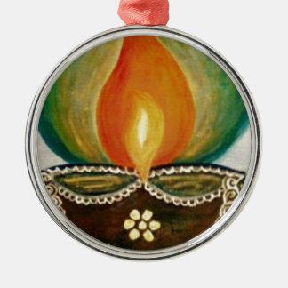 lighted diya metal ornament
