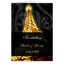 lighted eiffel tower french wedding Invitations