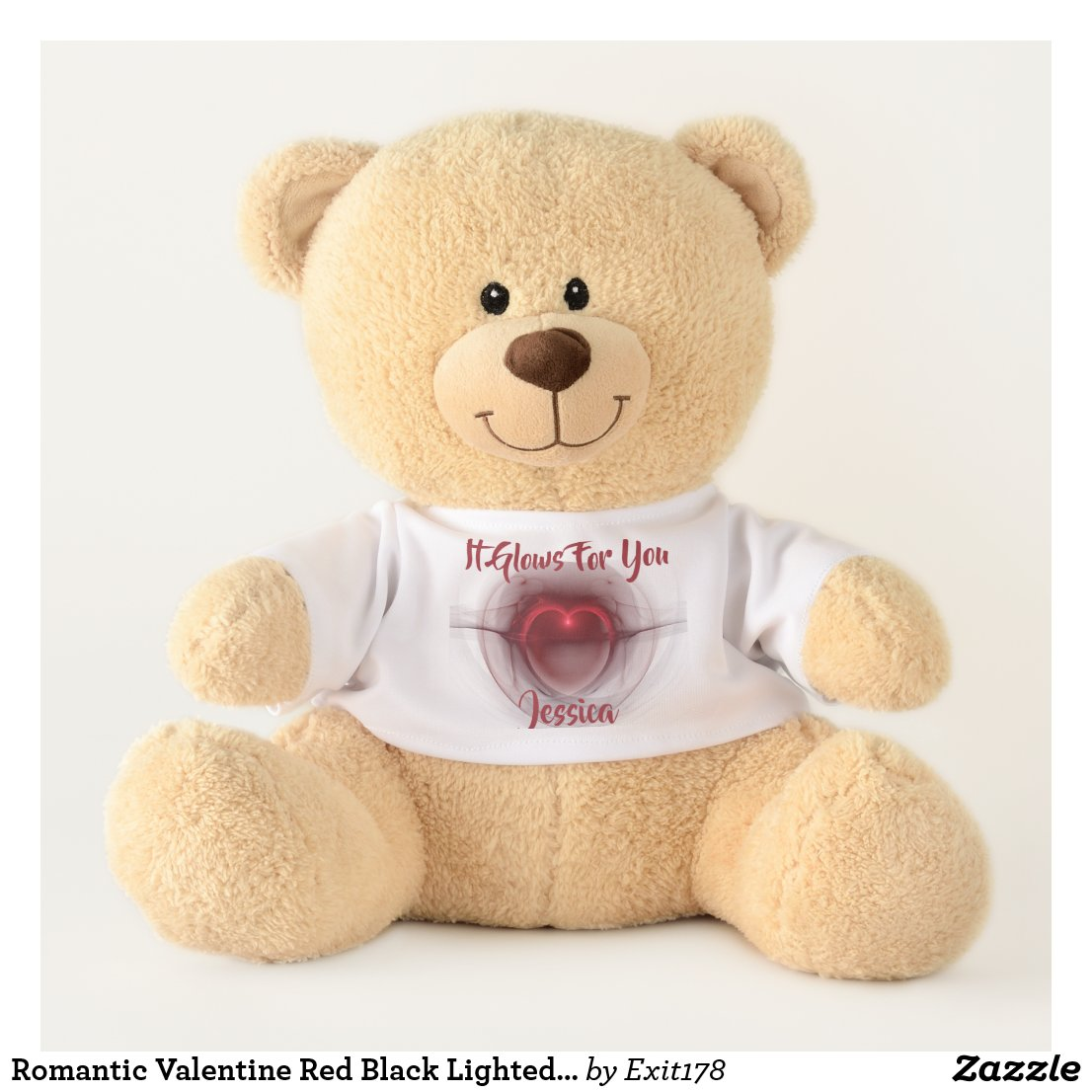 Lighted Heart Fractal Artwork Teddy Bear