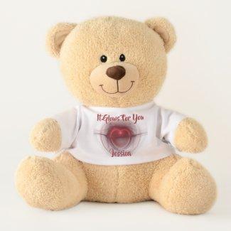 Lighted Heart Fractal Artwork Teddy Bear