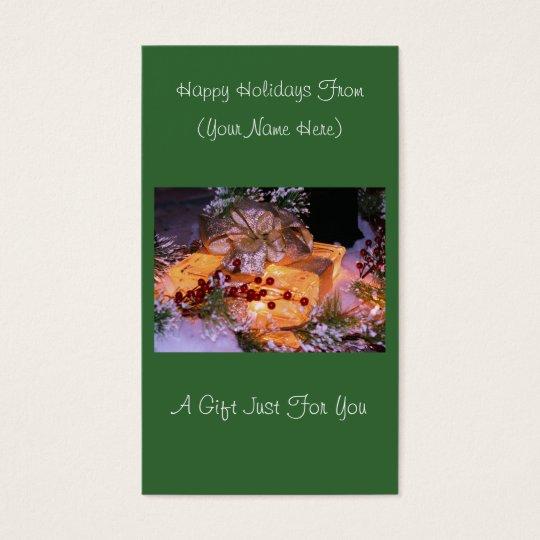 Lighted Present Christmas Holiday Gift Card Tag