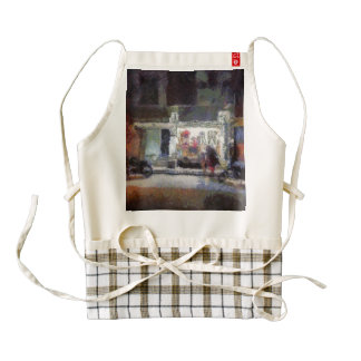 Lighted shop at night zazzle HEART apron