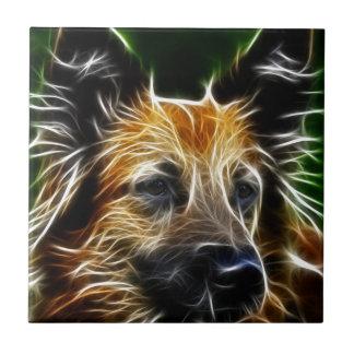 Lightening German Shepherd Dog Small Square Tile