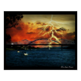 Lightening Storm Riverside Park La Crosse Wi Poster