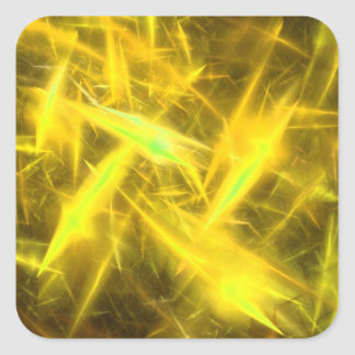 lightening Yellow Abstract Fractal Square Sticker