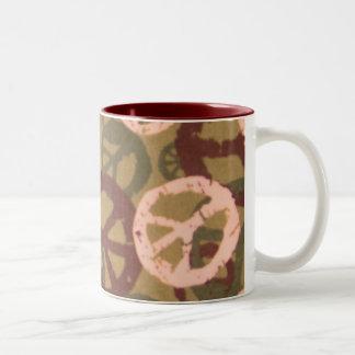 Lighter Green Camo Look/Peace Signs Mug