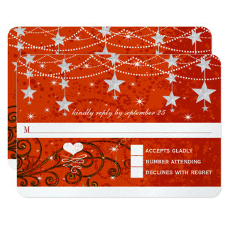 Lighter Red Wedding Under the Stars RSVP Card