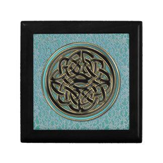 Lightest Jade Celtic Knot on Aqua Lace Gift Box