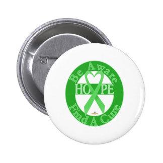 LightGreenHeartRibbonBeAwareFindCureDark Pinback Button