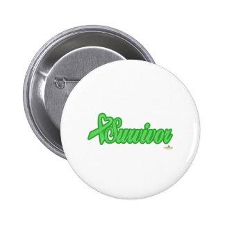 LightGreenHeartRibbonSurvivor Pinback Buttons