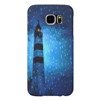 Lighthouse a dark stormy night with raindrops samsung galaxy s6 case