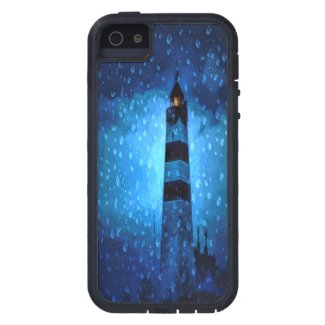 Lighthouse a rainy dark stormy night with drops iPhone SE/5/5s case