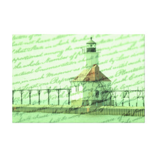 Lighthouse along Lake Michigan with old writing Canvas Print