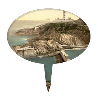 Lighthouse and Bathing Cove, Douglas, Isle of Man Cake Toppers