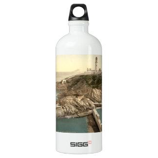 Lighthouse and Bathing Cove, Douglas, Isle of Man Water Bottle