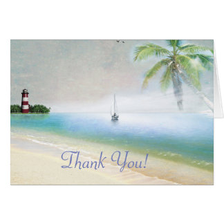 Lighthouse and Beach All Occasion Thank You Note Card