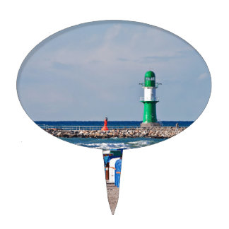 Lighthouse and beach chairs in Warnemuende Cake Picks