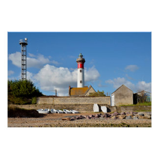 Lighthouse and beach of Ouistreham in France Poster