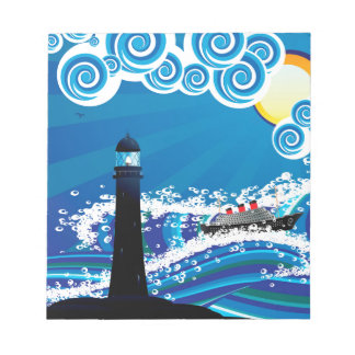 Lighthouse and Boat in the Sea3 Notepad