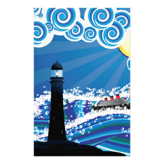 Lighthouse and Boat in the Sea3 Stationery