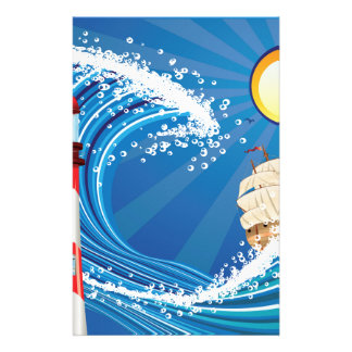 Lighthouse and Boat in the Sea 2 Stationery