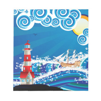 Lighthouse and Boat in the Sea 3 Notepad