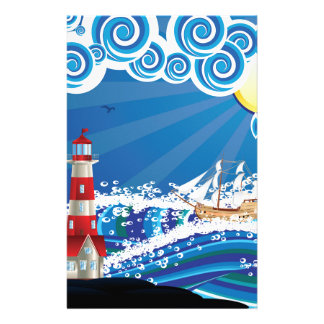 Lighthouse and Boat in the Sea 3 Stationery