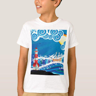 Lighthouse and Boat in the Sea 3 T-Shirt