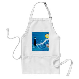 Lighthouse and Boat in the Sea 4 Adult Apron