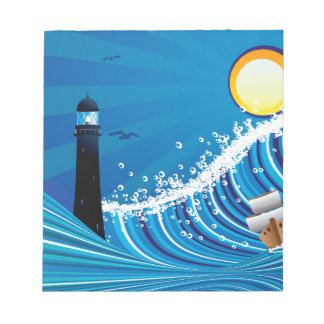 Lighthouse and Boat in the Sea 4 Notepad