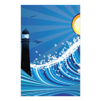 Lighthouse and Boat in the Sea 4 Stationery
