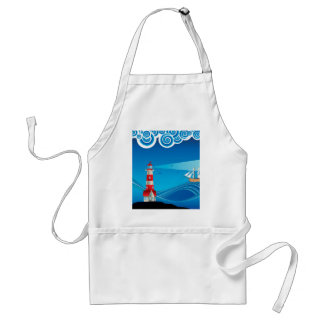 Lighthouse and Boat in the Sea 5 Adult Apron