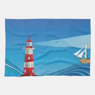 Lighthouse and Boat in the Sea 5 Hand Towel