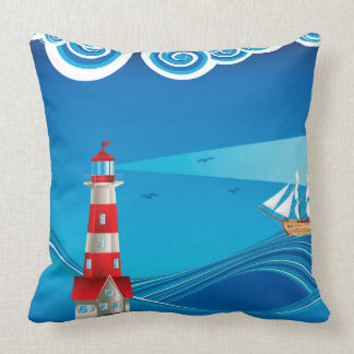 Lighthouse and Boat in the Sea 5 Throw Pillow
