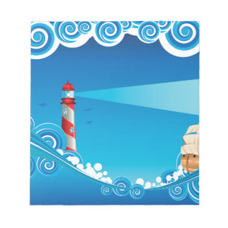 Lighthouse and Boat in the Sea 6 Notepad