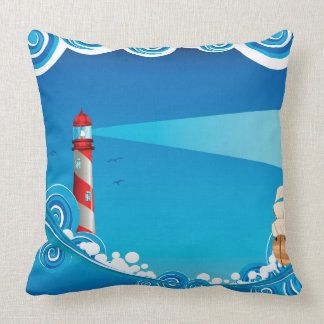 Lighthouse and Boat in the Sea 6 Throw Pillow