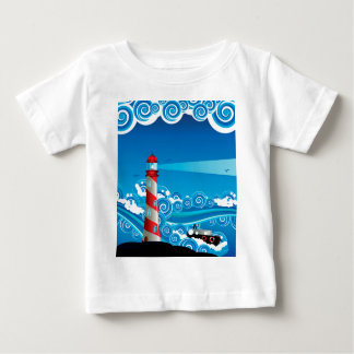 Lighthouse and Boat in the Sea 7 Baby T-Shirt