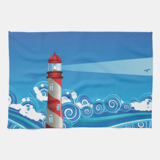Lighthouse and Boat in the Sea 7 Hand Towel