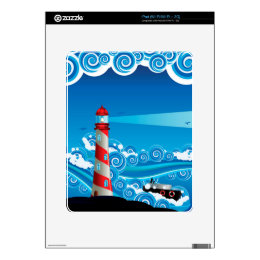 Lighthouse and Boat in the Sea 7 Skins For The iPad