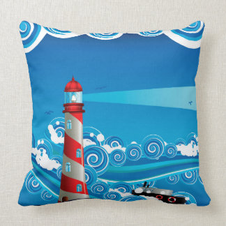 Lighthouse and Boat in the Sea 7 Throw Pillow