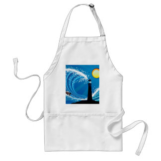 Lighthouse and Boat in the Sea Adult Apron