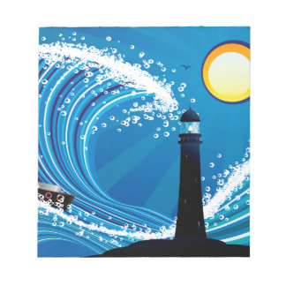 Lighthouse and Boat in the Sea Notepad