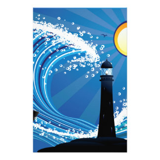 Lighthouse and Boat in the Sea Stationery