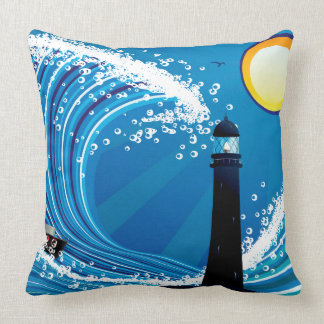 Lighthouse and Boat in the Sea Throw Pillow
