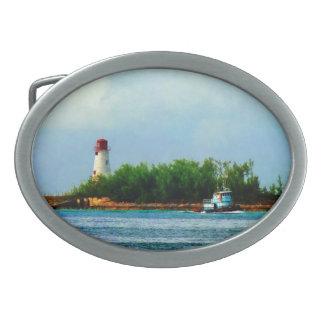 Lighthouse and Boat Nassau Bahamas Belt Buckles