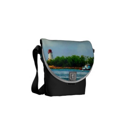 Lighthouse and Boat Nassau Bahamas Courier Bags