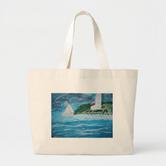 Lighthouse and Boat on the Stormy Seas Bag