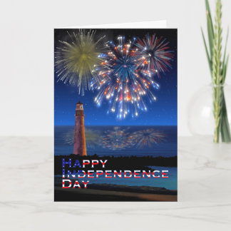 Lighthouse and Fireworks Happy Independence Day Card