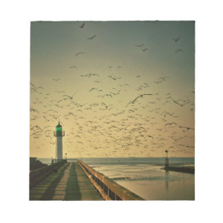 Lighthouse and gulls note pad