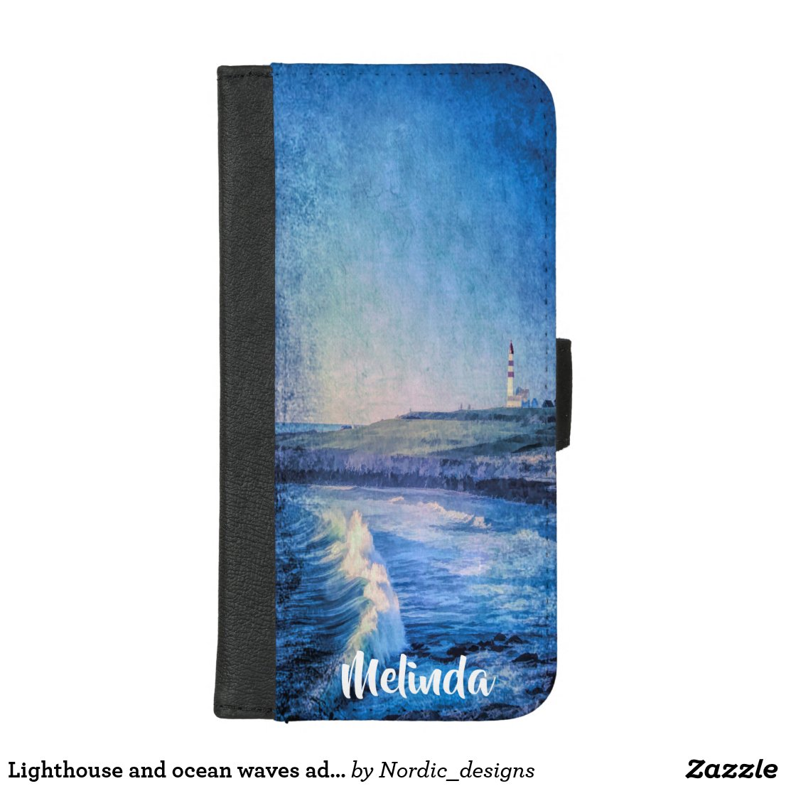 Lighthouse and ocean waves add name watercolored iPhone 8/7 plus wallet case
